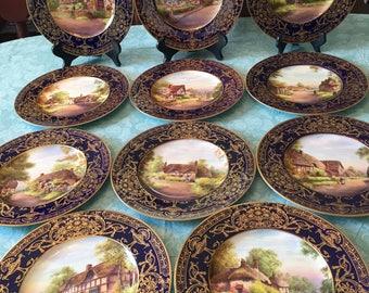 "11 Antique Royal Worcester Cabinet plates 10.5"""