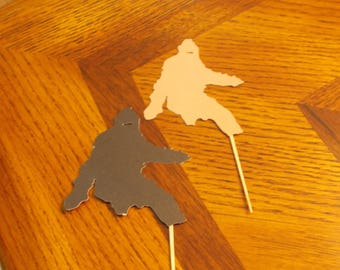 12 Bigfoot Cupcake Toppers! Choose your color!! Double Sided!!