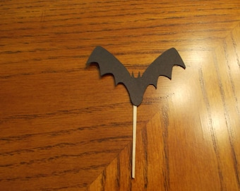 12 Bat Cupcake Toppers! Choose your color!! Double Sided!!