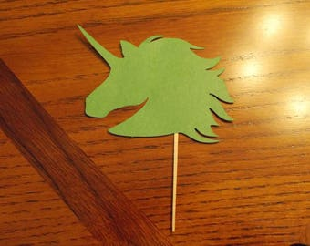 12 Unicorn Cupcake Toppers! Choose your color!! Double Sided!!