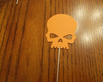 12 Skull Cupcake Toppers! Choose your color!!