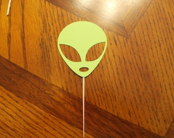 12 Alien Cupcake Toppers! Choose your color!!