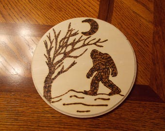 BIGFOOT Wood burning - Signed and Numbered - Hand Made by Artist ! L@@k!!