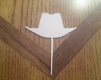 12 Cowboy Hat Cupcake Toppers! Choose your color! Double sided!