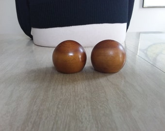Vintage Round Wooden Salt and Pepper Shakers with Corks