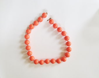 Vintage Coral Colored Beaded Necklace