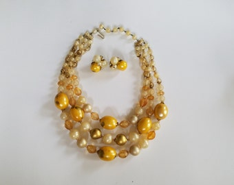 Vintage Multi Strands of Yellow Beads made in West Germany--Jewelry Set