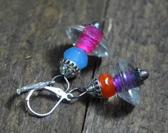 Bohemian Colorful Glass Dangle Earrings, Asymmetrical Colored Rustic Jewelry, Boho Hippie, Gypsy Earrings, Pink Purple Blue Orange, Lampwork