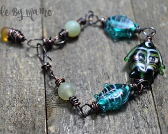 Bohemian Lampwork Fish Bracelet, Oxidized Copper, Rustic Handmade Artisan Bracelet, Blue Green, Sea Ocean Jewelry, Wire Wrapped Fish Jewelry