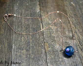 Boho Blue Floral Lampwork Glass Bead Necklace, 14K Rose Gold Fill Wire and Chain, Salvaged Glass Bead, Big Pendant Bead, Elegant, Minimalist