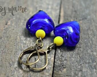 Blue Lampwork Glass Heart Earrings, Blue and Yellow Handmade Dangles, Bohemian Artisan Jewelry, Swirly Blue Hearts, Leverbacks, Bronze, Chic
