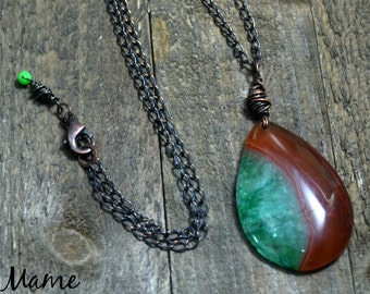 Druzy Agate Boho Pendant Necklace, Oxidized Copper Rustic Jewelry, Orange and Green Earthy Bohemian Necklace, Czech Glass, Wire Wrapped