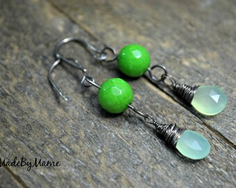 Rustic Green Chalcedony Dangle Earrings with Sterling Silver