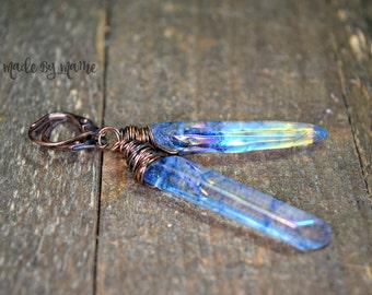 Blue Titanium Plated Quartz Crystal Earrings, Oxidized Copper Handmade Earrings, Long Gemstone Sticks, Boho Gypsy Jewelry, Blue Crystals