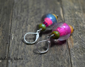Funky Boho Glass Earrings, Bright Colorful Glass Jewelry, Rustic Pink Orange Green, Recycled and Salvaged Glass Beads, Bead Stack Dangles
