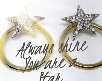 Bicolor Star Crystal Earrings, Star Earrings