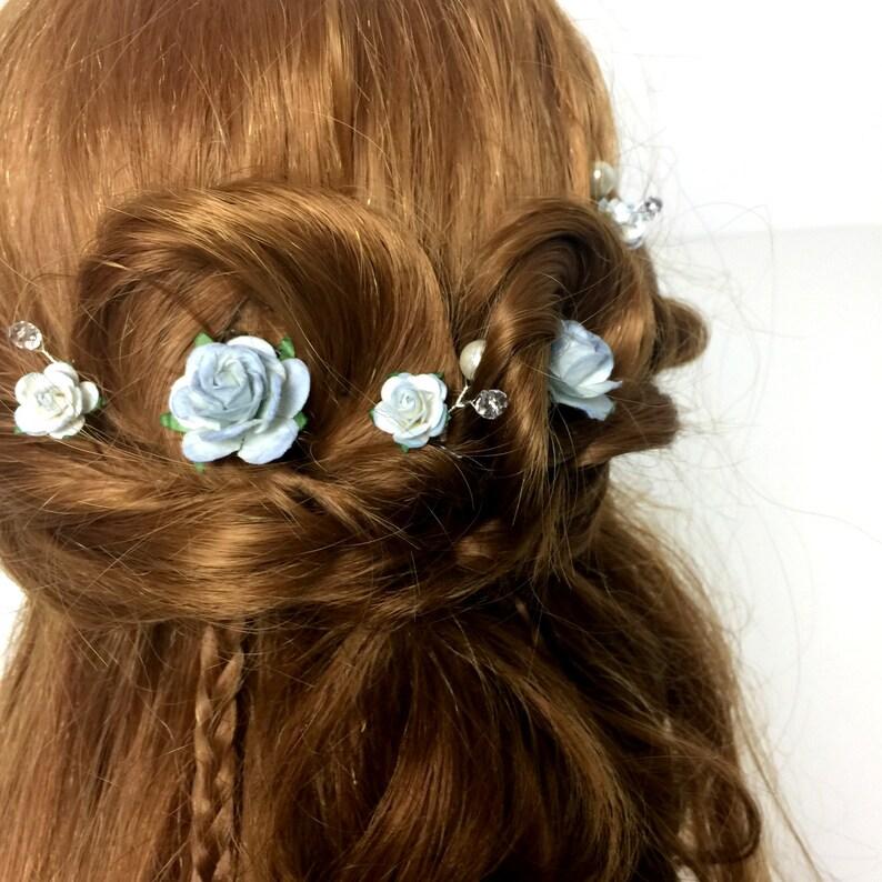 Rustic Hair Accessories Bridal Hair Accessories Something Blue Blue Rose Bridal Hair Clips Wedding Hair Pins Blue Hair Pins Set