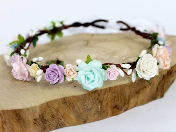 Flower Girl Crown Pastel Flower Crown Boho Wedding Flower  5483809283d