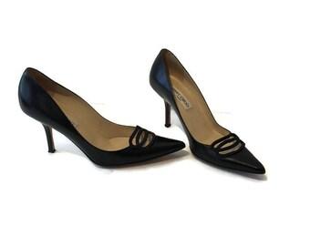 31bc3e7857 Jimmy Choo Black Heels - Dressy Designer Italian Leather Pumps