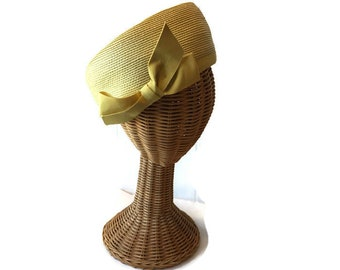 0e422c6f360 Vintage Maxine Hats Yellow Straw Hat with Twill Ribbon Bow - Ladies Summer  Hats