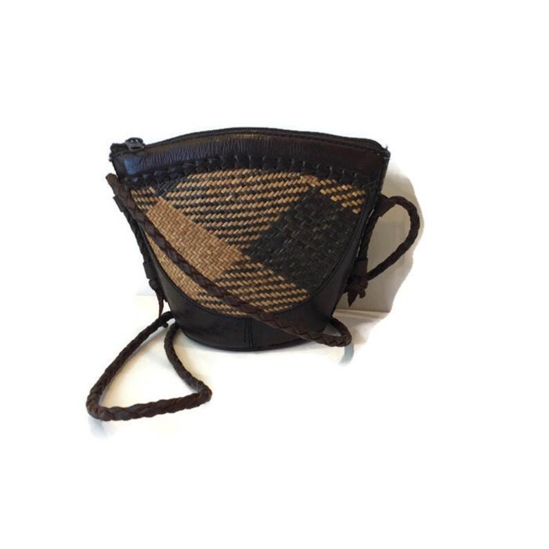 49adde6ad379 Vintage Indonesian Rattan   Leather Basket Weave Crossbody