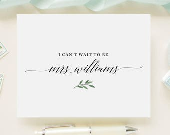 Fiance Future Husband I Can/'t Wait To Be Mrs... Custom Color Wedding Day Card for Your Groom