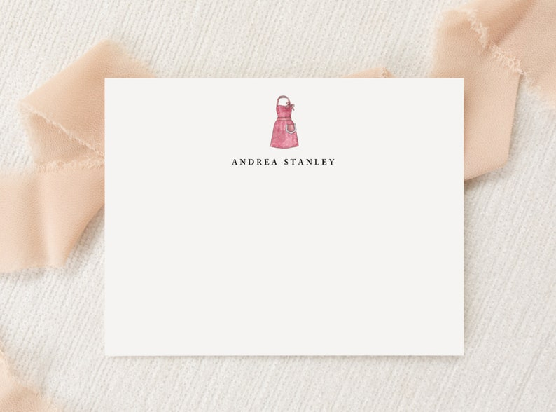 Personalized Custom Baking Kitchen Apron Stationery Snail Mail Gift Printed Thank You Flat Note Cards Stationary Monogram