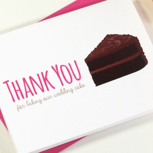 Thank You For Baking Our Wedding Cake Thank You Card for Your Wedding Cake Baker or Bakery On Your Wedding Day