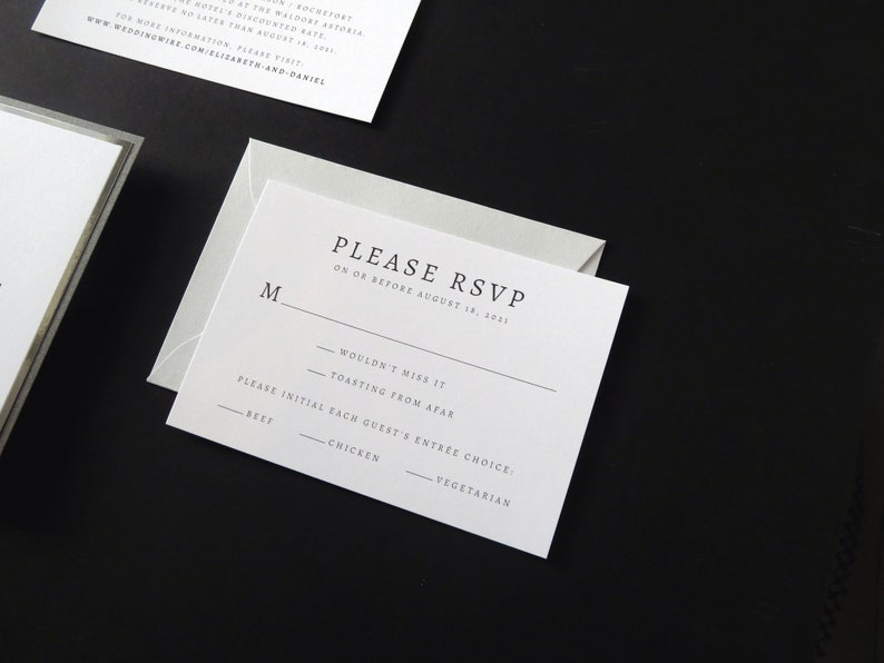 INVITATION SAMPLE Cool Grey Silver Foil Dark Grey Shimmer Formal Modern Layered Monogram Wedding Invitation in White The Aura Suite