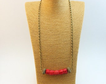 SALE-Big red coral and vintage brass necklace with vintage chain
