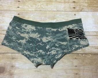 48370de5698a Camo Underwear - Military Underwear - Gift for Wife - American Flag - ACU  Digi Camo Booty Short womens Underwear with custom saying on front