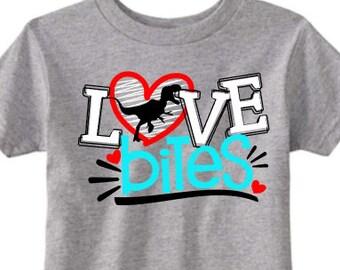 Boys valentine shirt, dinosaur shirt, love bites, funny kids shirt,valentines shirt, love shirt, boy shirt, Trex shirt, dino tee, rawr shirt