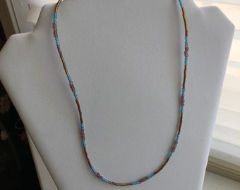 Purple and Light Blue Beaded Necklace