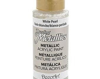 Dazzling Metallics, White Pearl, 2 oz bottle, Decoart