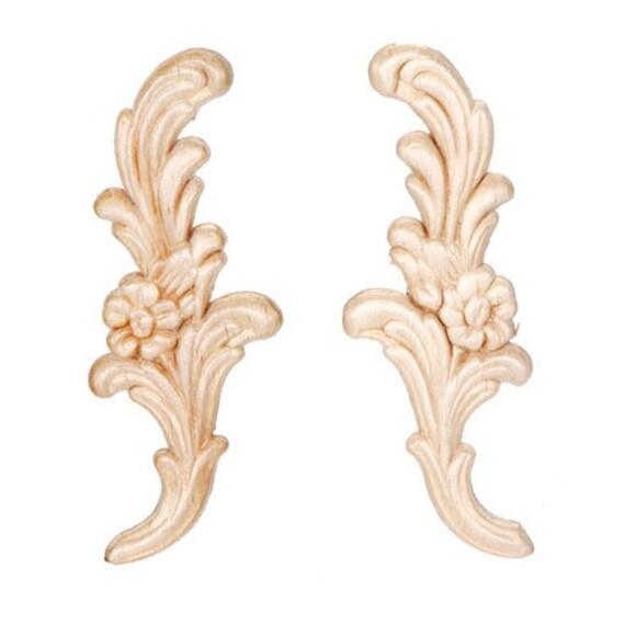 Floral Pair Wood Appliques Decorative Wood Wood Crafts 2 Pcs Etsy