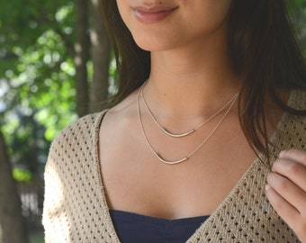 Silver Double Strand Necklace Layer // Silver Tube Necklace // Simple Silver Necklace // Silver Curved Bar Necklace // Double Bar Necklace