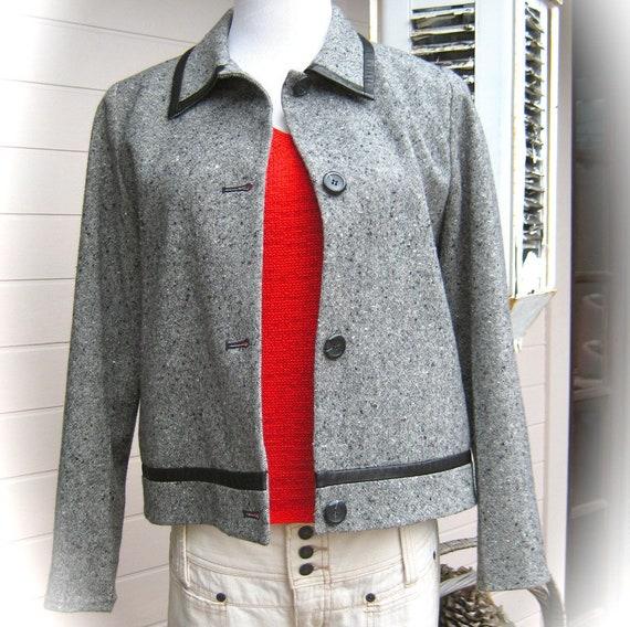 Vintage PENDLETON - Grey Tweed Wool Jacket - Boxy