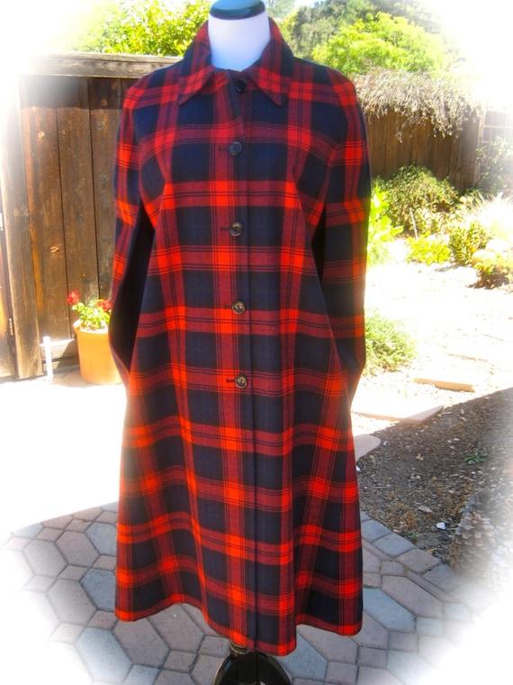 70s Red Tartan REVERSIBLE CAPE - Vintage Cloak - R
