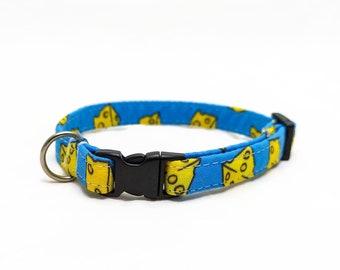 "Cat Collar Breakaway - ""Cheese"" - Blue - Funny Cat Collar - Safety Cat Collar - Food Cat Collar - Soft Cotton Collar - Safe Collar"