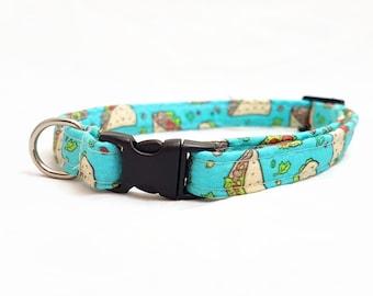 "Cat Collar Breakaway - ""Taco"" - Safety Cat Collar - Fun/Funny Cat Collar - Soft Cotton Fabric Collar - Turquoise/Light Blue - Fast/Junk Food"