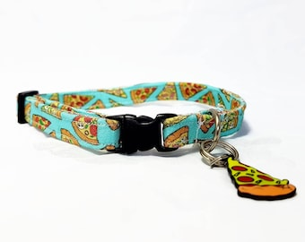 """Cat Collar Breakaway - """"Pizza"""" - Safety Cat Collar - Light Blue/Turquoise Cat Collar -  Soft Cotton Cat Collar - Safe/Durable - Funny/Foodie"""