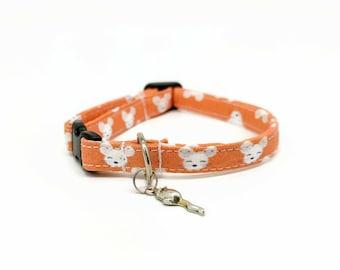 "Cat Collar Breakaway - ""Mice"" - Safety Cat Collar - Fun Cat Collar - Soft Cotton Fabric Collar - Orange - Mouse Collar - Safe Cat Collar"