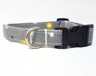 """Dog Collar - """"Modern Stars"""" - Christmas/Festive/Holiday/Cute Dog Collar - Grey/Gray Dog Collar - Soft/Durable Cotton Dog Collar"""