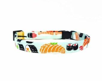 "Cat Collar Breakaway - ""Sushi"" - Safety Cat Collar - Light Blue Cat Collar - Soft Cotton Fabric Collar - Fun Cat Collar - Food/Japanese"