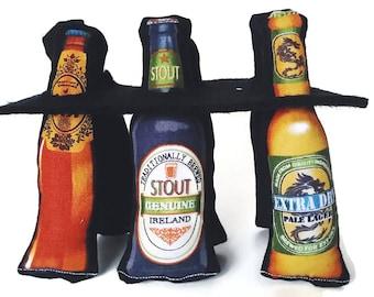 "Catnip or Valerian  Cat Toys - ""Sixpack Beer"" - 6 Pack Set"