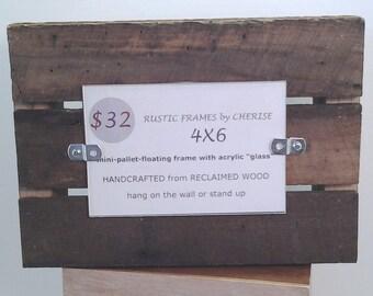 Pallet Photo Frame, Rustic Cabin Frame, Outdoorsman Picture Frame, Manly Frame, Mini-Pallet Frame, Reclaimed Wood Frame, 4x6 photo frame