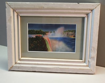 American and Horseshoe Falls, in Niagara, New York, Vintage Postcard, Matted, Framed, in a Distressed, Reclaimed, Wood Frame