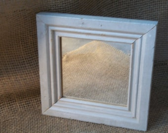 Off White Rustic Framed Mirror, Accent Mirror, Chipped Paint Mirror, Distressed Mirror, Small Mirror, Reclaimed Wood Mirror, Worn Wood