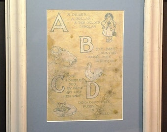 Saalfield's, Vintage Children's, ABC's Linen Books, White Chipped Paint, Reclaimed Wood, Frame and Mat