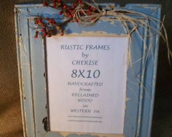 Rustic Reclaimed Wood, Chipped Paint, Picture Frame, 8X10 with Red Berry, Decoration